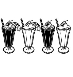 with a glass of ice cream and vector image