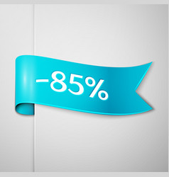 cyan ribbon with text eighty five percent discount vector image