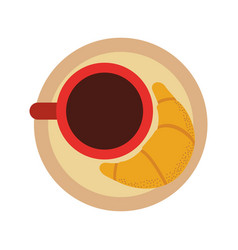 delicious coffee with croissant vector image