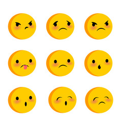 emotional cute sad triste faces smiles set vector image