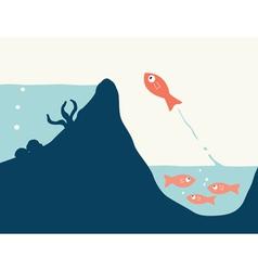 fishjump vector image vector image