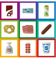 flat icon food set of tin tuna cookie yogurt and vector image