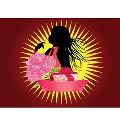 Girl with gift box and ribbon2 vector image vector image
