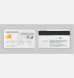 realistic white bank credit card template isolated vector image vector image