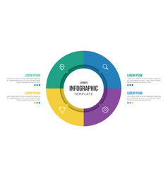 4 points circular infographic element template vector image
