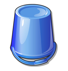 An inverted plastic bucket blue color isolated on vector