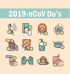 Avoid and prevent spread covid19 icons set line vector