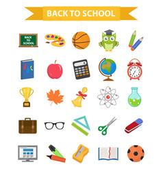 back to school icon set flat cartoon style vector image vector image