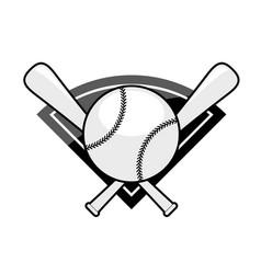baseball emblem - two crossed bat and ball vector image