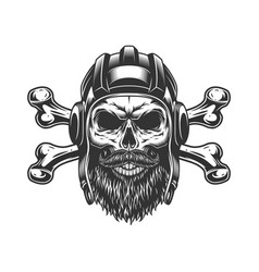 Bearded and mustached tankman skull vector