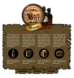 Beer menu design vector