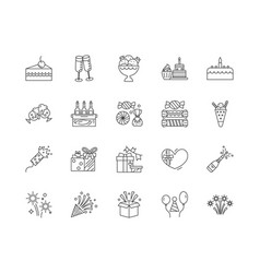 Birthday line icons signs set outline vector