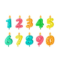 Birthday numbers anniversary decorative candles vector