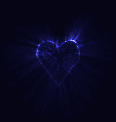 blue neon heart glowing in the dark vector image