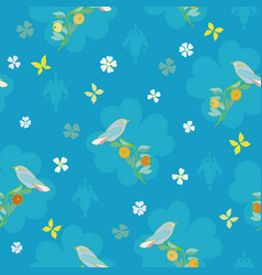 blue pattern with bird butterfly and flower vector image