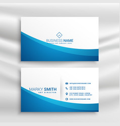 Blue wave business card template vector