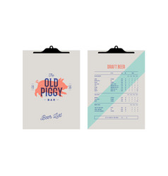 brand identity set for beer bar pub clipboard vector image