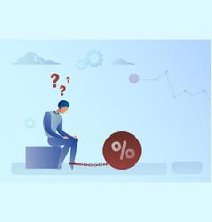 business man chain bound legs credit debt finance vector image