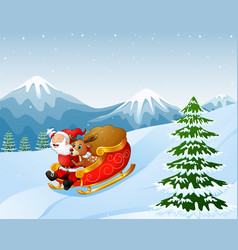 cartoon santa clause and a reindeer riding on a sl vector image
