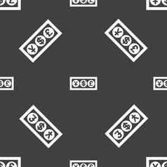 Cash currency icon sign Seamless pattern on a gray vector image