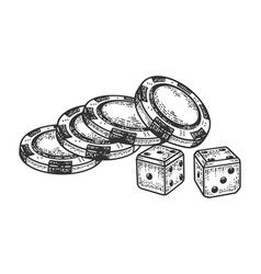 Casino dice and chips sketch vector