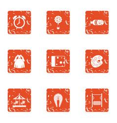 child hobby icons set grunge style vector image