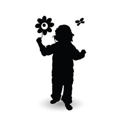 child with flower vector image