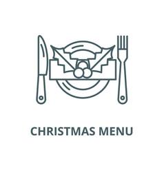 Christmas menu line icon christmas menu vector
