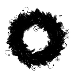 Christmas wreath silhouette for your design vector image