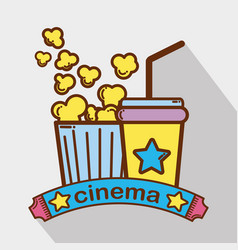 cinema with popcorn soda beverage vector image