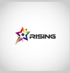 Colorful rainbow rising star logo symbol vector