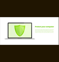 computer with security shield notebook security vector image