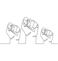 Continuous line drawing three strong fists vector