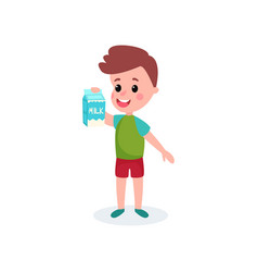 Cute boy with cardboard box of milk in his hands vector