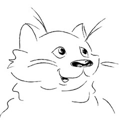 cute cat portrait sketch in black and white vector image