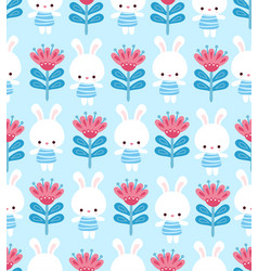 cute floral pattern with a hare on a blue vector image