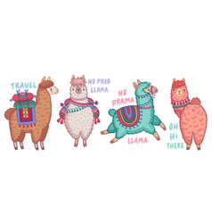 cute lamas with funny quotes vector image