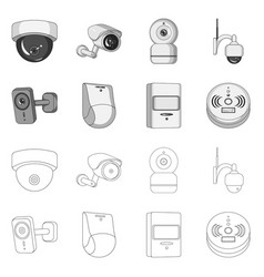 Design of cctv and camera sign set of cctv vector