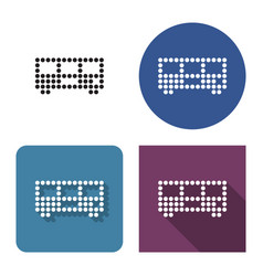 dotted icon bus in four variants with short vector image