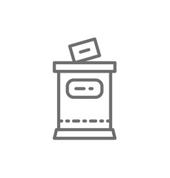 election put voting paper in ballot box line icon vector image