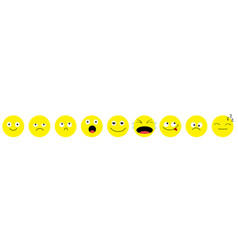 emoji icon set line emoticons funny kawaii vector image