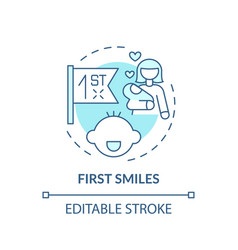 First smiles turquoise concept icon vector