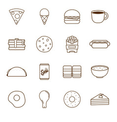 food icons outline - pizza burger ice cream etc vector image