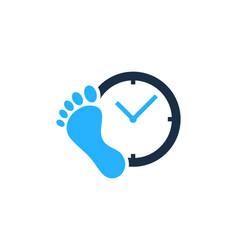Foot time logo icon design vector