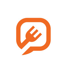 fork symbol combined with chat or speech bubble vector image