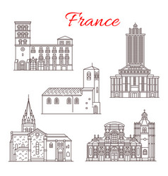 france travel landmarks line art icons vector image