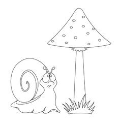 funny cartoon snail and mushroom vector image