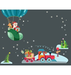 Funny Color Christmas background with a toy train vector image