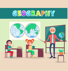 geography lesson poster with smiling characters vector image