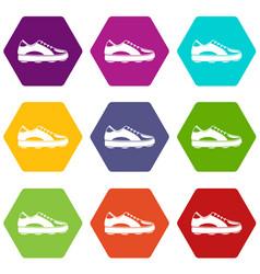 golf shoe icon set color hexahedron vector image